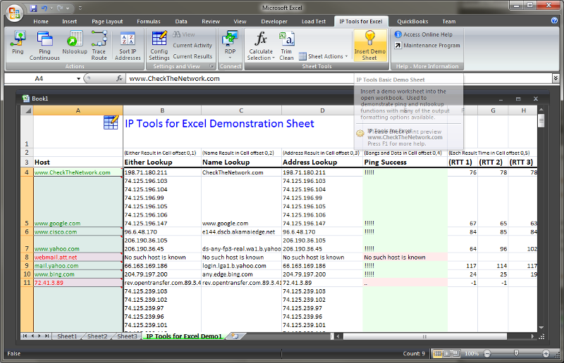 IP Tools for Excel Ping and Nslookup Demo Screen
