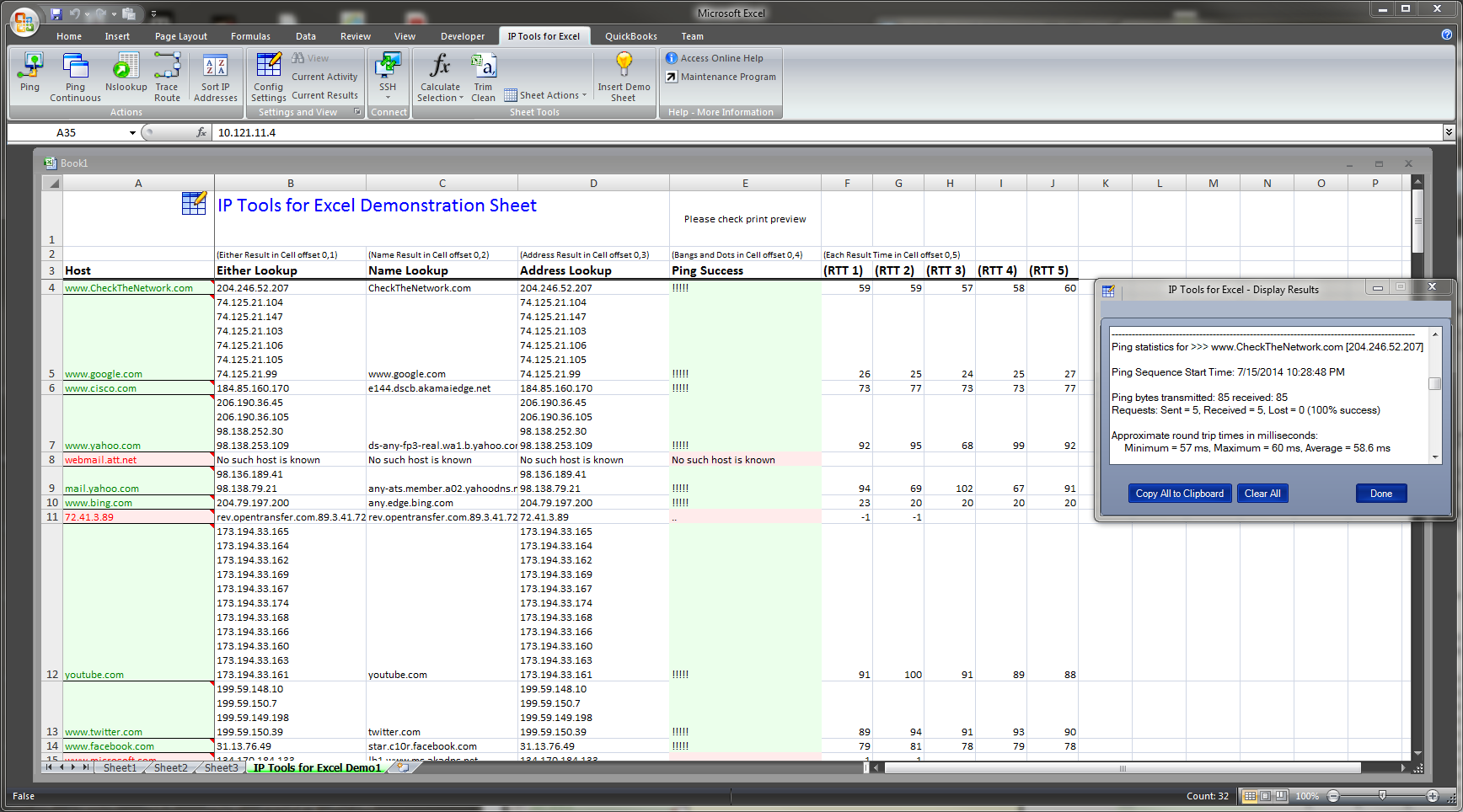 NEW - IP Tools for Excel - Add-in / Plug-in. Add Ping NsLookup Tracert and more